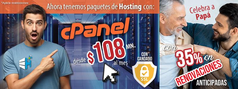 Hosting con cPanel promoción dia del padre especialistas hosting  junio2020